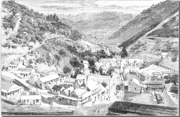 Lithograph of Walhalla in 1888